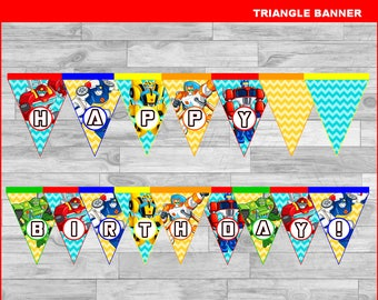 Rescue Bots Triangle Banner instant download, Printable Rescue Bots party Banner, Rescue Bots birthday Banner