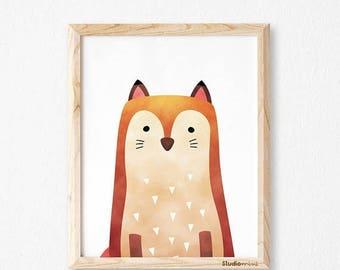 Fox print, fox wall art, studioM, fox art print, fox watercolor, animal print, woodland animals, woodland print, woodland nursery, nursery