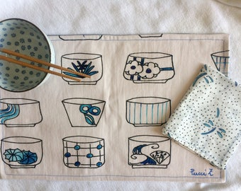 Japanese cups mat fabric canvas
