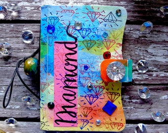 Notebook. Small notebook - Diamond. Hand painted notebook with velcro clasp. Colourful pocket sized notebook. Pocket sized colourful planner
