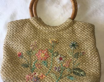 Straw Purse with Round Wood Handles and Embroidered Flowers