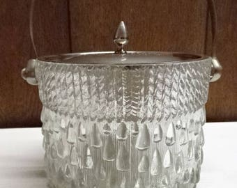 Pressed/Moulded Glass Ice Bucket with Lid/Metal Lid & Handle/Retro/Vintage/1950s