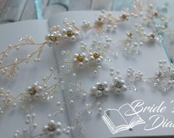 Wedding hair jewelry, pearls and crystals bridal wreath, bridal silver hair vine