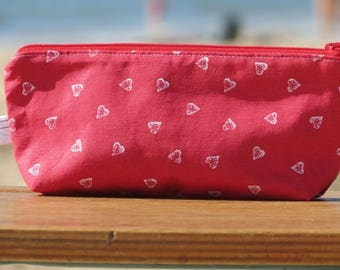 "Case and protects ""back to school"" notebook with red cotton with little white hearts"