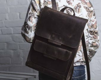 LARGE LEATHER BACKPACK, brown backpack with exterior pocket, vintage brown backpack, rucksack men, backpack women, backpack chocolate color