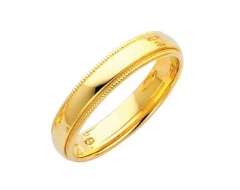 14K Solid Yellow Gold Comfort Fit Milgrain Wedding Band Ring 4.0mm Size 4-12 - Polished