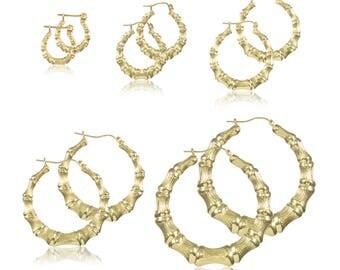 10K Yellow Gold Round Bamboo Hoop Earrings - Door Knocker