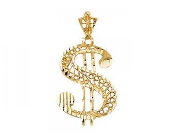 14K Solid Yellow Gold Dollar Sign Pendant - Money Diamond Cut Necklace Charm