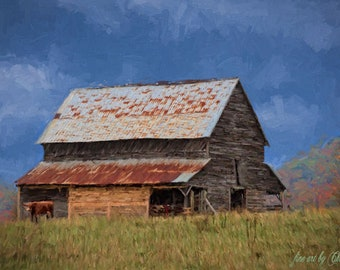 Old Barn 11x17 PaintingOld BarnsRustic SceneOriginal Farm
