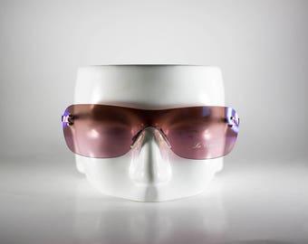 LES COPAINS Vintage Sunglasses Unisex Silver Metal Shield 2000 LESS84Q-1