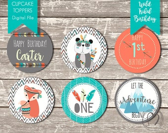 TRIBAL/Wild One First Birthday Custom Cupcake Toppers/ Boy First Birthday/Orange,Turquoise,Grey/DIY Printable Cupcake Toppers/Birthday Decor