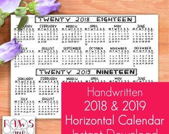 2018 2019 Horizontal Calendar • Bullet Journal Starter Kit • Year at a Glance • Birthday Calendar • A5 Planner Insert • Printable Planner •