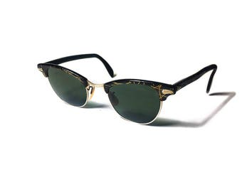 Vintage 1950s Retro C.O.C Clubmaster Cat-Eye Green Lens Atomic Mid-Century Sunglasses Rayban Gold