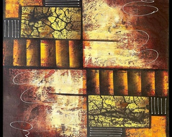 Panels of Life, Indonesian Artwork, Mixed Media, Streatched Canvas Giclee of Traditional Oil on Canvas Balinese Painting; Ready to Hang!