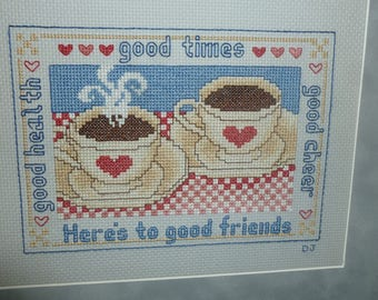 Coffee Art wall hanging, coffee cups art, coffee themed cross stitch, tea cups art wall hanging, good friends, kitchen decor