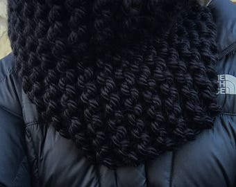 Hand Knit Black Super Chunky Cowl Scarf - Black Infinity Scarf - Knit Cowl Scarf - Knit Snood - Ready to Ship