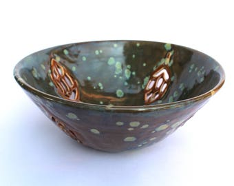 Green Speckled Bowl with Leaf Cutouts.