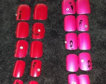 Rhinestone Kitties glue on 12pc nail set