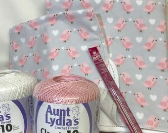 Baby bird finished edging hemstitched flannel baby blanket receiving swaddling crochet