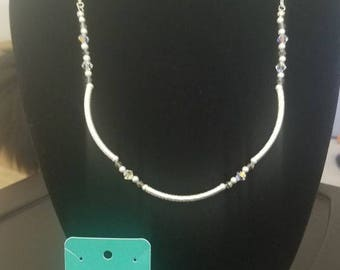 Swarovski Crystal and Textured Silver Necklace Earrings and Bracelet Set
