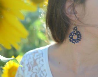 Natural stone blue earrings