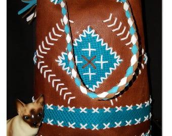 chimayo leather handmade repro vintage handbag ( emmertas) rockabilly
