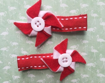 Red/Blue and White Felt Pinwheel Clips (Custom colors available!)