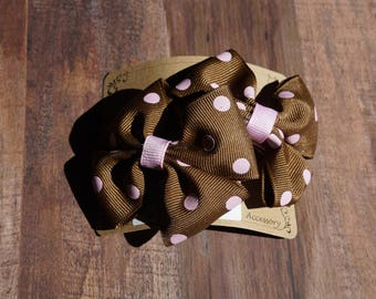 Brown and Baby Pink Pig Tail Pack