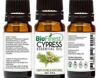 BioFinest Cypress Oil - 100% Pure Cypress Essential Oil - Premium Organic - Therapeutic Grade - Best For Aromatherapy -