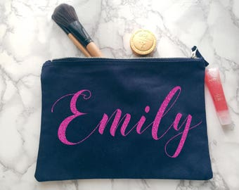 Glitter Personalised make up bag | Personalised gift | Bridesmaid gift  | Personalised Birthday Present | Wash bag | navy blue