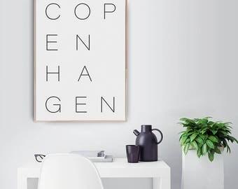 Copenhagen, Typography, Letter Art, Typography Art Print, Scandinavian and Danish Art Print