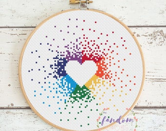 Rainbow Heart Cross Stitch PDF Pattern | Instant Digital Download | Geek Cross Stitch Pattern | Rainbow Cross Stitch Pattern| Rainbow Splash