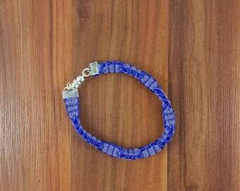 Bracelet: Purple Waves; braided cotton and artificial silk; unisex
