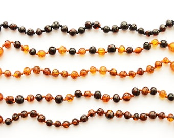 Baltic Amber baby Adult Teething Bracelet Anklet Knotted modified polished baroque style beads Gift Boy Girl Choose size and Color Jewelry