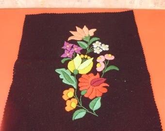 Vintage  Hungarian handmade black Kalocsa doily