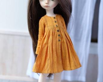 Linen shirt dress for iMda 3.0 doll - ochre yellow
