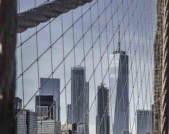 Lower Manhattan and World Trade Center Framed by Brooklyn Bridge