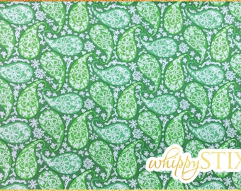 Green Paisley Fabric By the Yard, Parasol Modern Quilt Studio for Andover Fabrics 7852 Barbados Collection, BTY Paisley Cotton Fabric