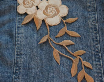 Patch Thermo coat taupe flower applique to glue 25 cm x 9 cm