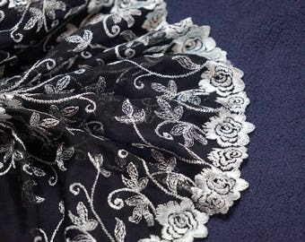 1.90Mx20 cm gunmetal Ref 1762 embroidered tulle lace