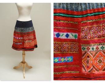 Vintage Hmong Skirit/Hemp Woven Ethnic Mini Skirt/Embroidered Tribal Batik Boho Skirt