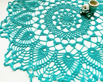 Turquoise Lace Lacy Doilies Handmade Crochet Doily Wedding Decoration Home Decor Flower Mandala Dream Catcher Crocheted  Round