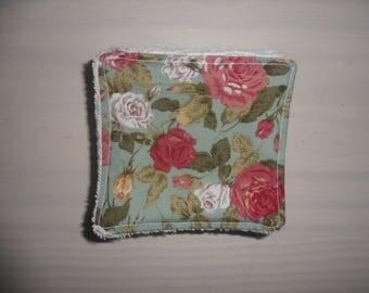 set of 8 wipes washable cotton style English shabby and sponge white 10 cm x 10 cm