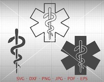 EMT Symbol SVG, Medical Symbol Clipart, Caduceus Vector DXF Silhouette Cricut Cut File Commercial Use