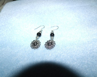 black and silver dangles