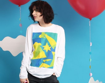 Long Sleeved white T-shirt - Blue Starburst