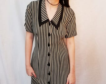 90s Vintage grunge stripe dress. 90s black and tan dress. 90s rayon dress. Button Up dress. Size Medium