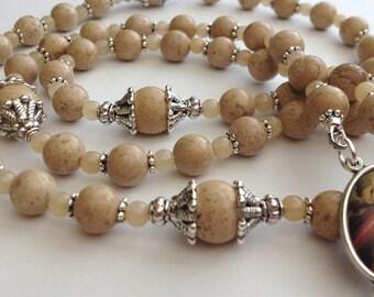 Desert Sand Jasper Semi-Precious Rosary, Gemstone Rosary, CHOOSE your parts Catholic Rosary, Customize Rosary