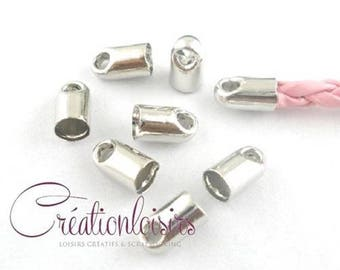 50 end caps for necklace or thin cord 6 x 4 mm