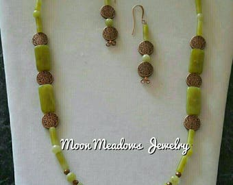 Necklace and Earring Set, Gemstone and Copper